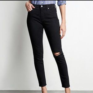 High-Rise Destructed Black Denim Skinny Jean 8/29